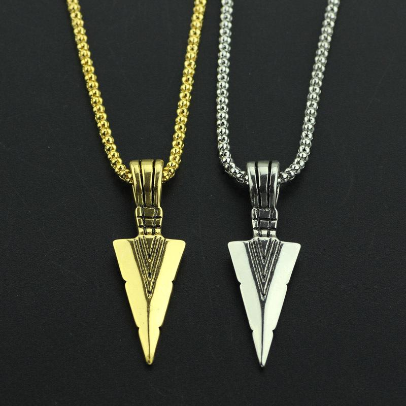 Presente do dia dos namorados Triângulo Seta Espada Retro Colar Longo Cadeias de Pingente de Homens Gargantilhas Medalhões Fios Cordas Tênis Colarinho Graduado