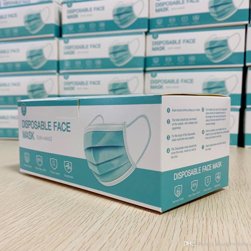 Máscaras de la cara desechables Mascarillas anti-polvo PM2.5 3 Capas Meltblown Nivel no tejido Máscara de la boca DHL envío gratis