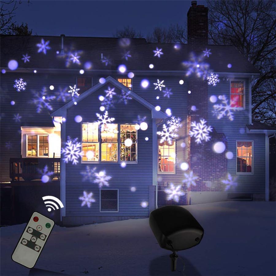 RGB Snowflakes LED Laser Beam Projector Lights Outdoor Indoor Waterproof Garden