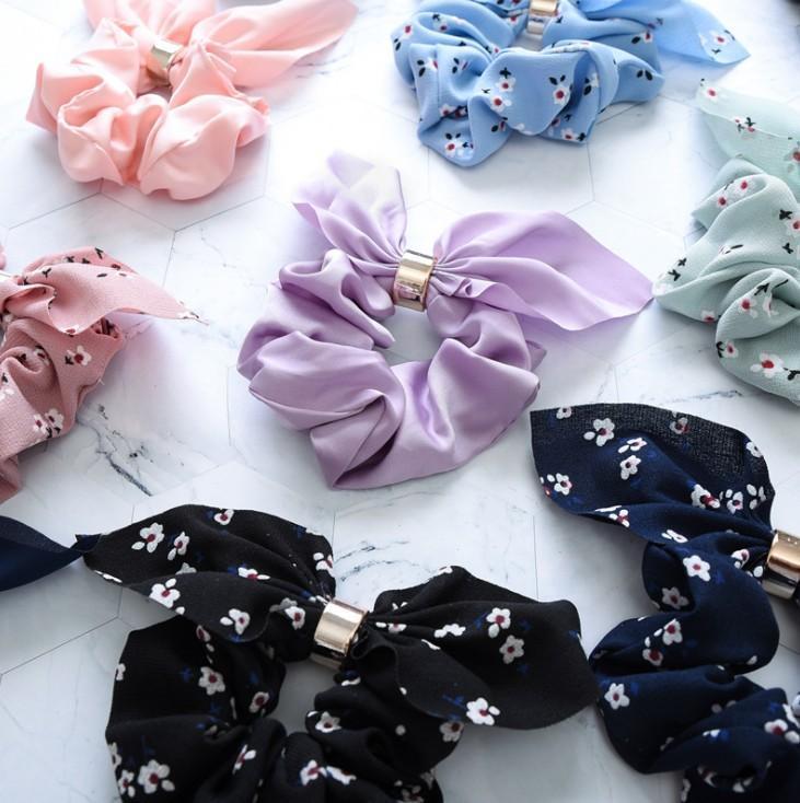 2020 New Cute Rabbit Ear Striped Hair Accessories Elastic Band Headwear Hair Rope For Women Girls Rubber Band Tie Hair Scrunchies