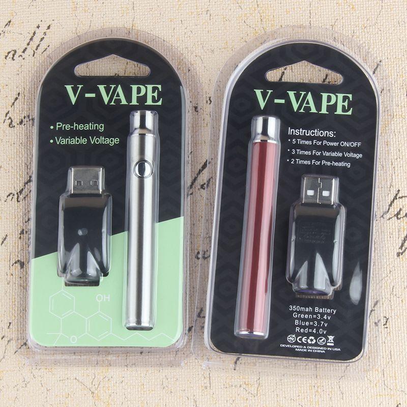 Caixa de varejo de vértice vaporizers caneta 350mAh 510 baterias variáveis Vaporizador de tensão Vape Vape Eletrônico Cigarro Lo Pré-Calor Função