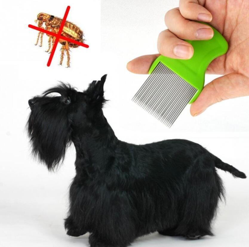 Mascota Perro Gato Gato Peine Limpio Cepillo Perro Pelo Grooming Tool Acero Inoxidable Aguja Larga Piojos para Piojos Mascota Pulga Peine Catching Piojos Envío Gratis
