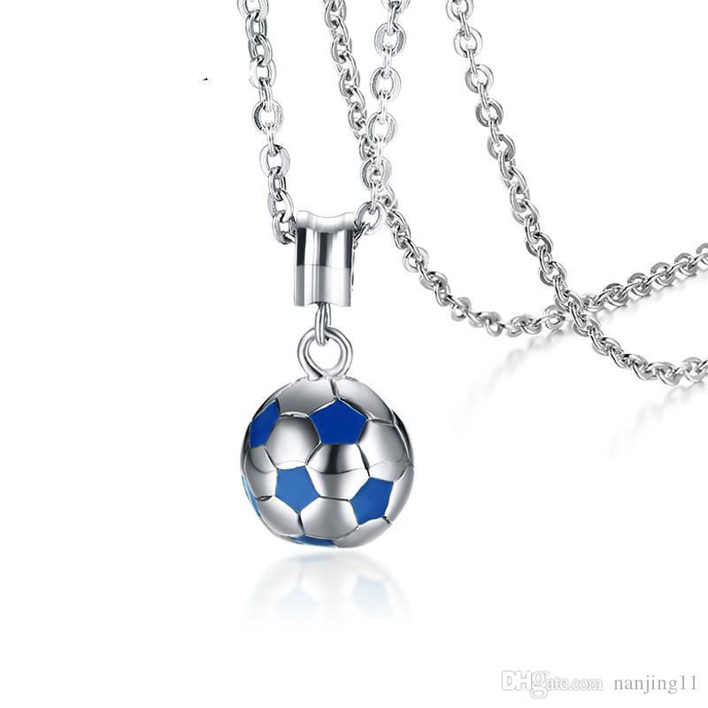 Futebol de futebol pingentes colares homens bola de aço inoxidável esportes prata azul correspondência moda cadeia masculino bijoux unisex presentes pn-1055