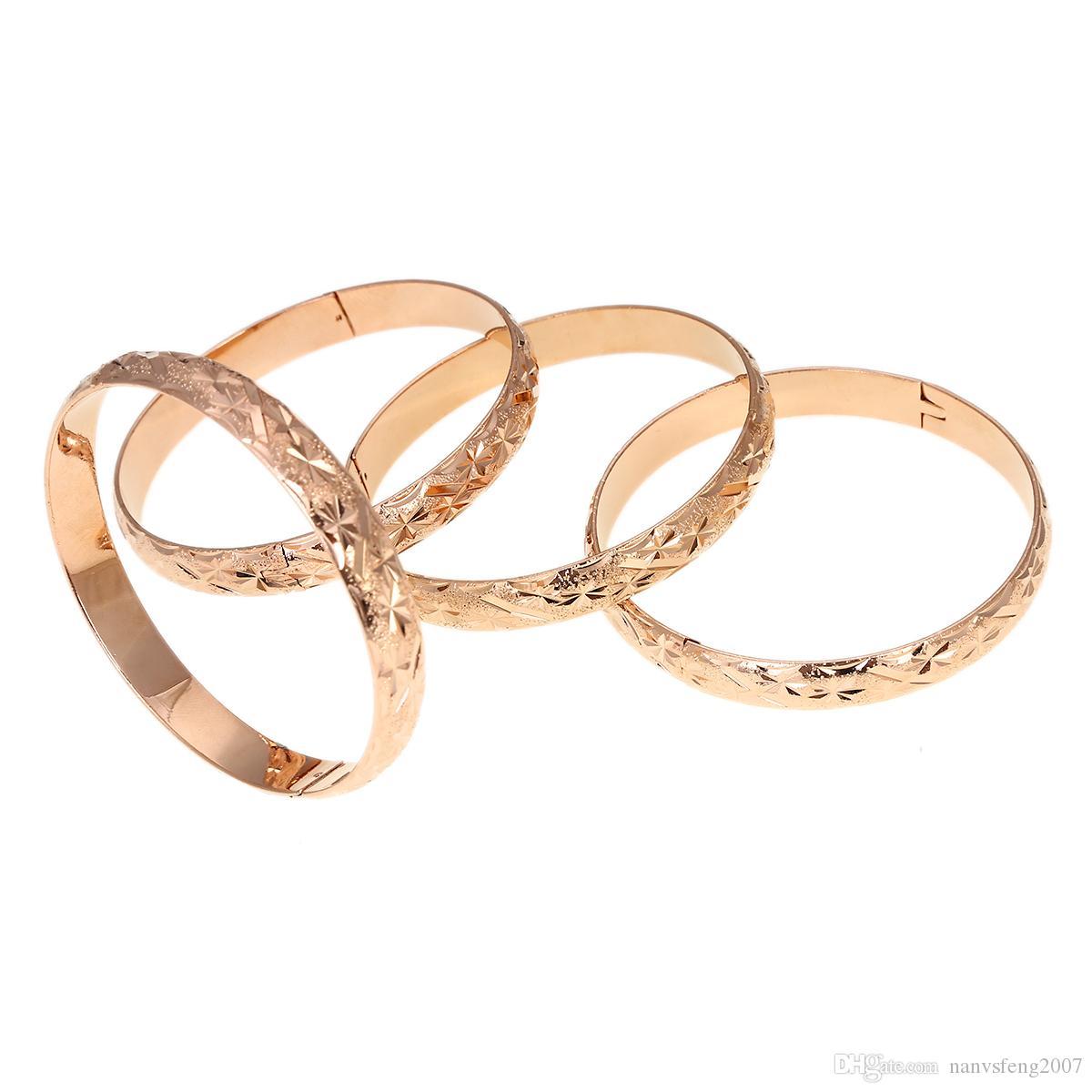 4 unids Rose Gold Fashion Color Dubai Gold Bangle Jewelry para Mujeres Hombres Color Oro Joyería Etíope Brazaletes Africanos Pulseras Joyería