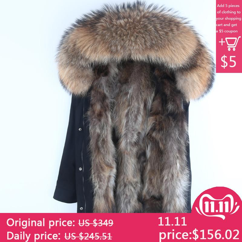 Real Fur Parka Men Winter Jacket Real Raccoon Fur Hooded Coats Nature Raccoon Dog Lining Jacket Man Real Fur Coat S191128