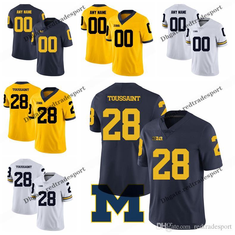 Personnaliser 2019 Wolverines Michigan Maillots de Football Fitzgerald Toussaint College # 28 Fitzgerald Toussaint Maillots de Football Cousus S-XXXL