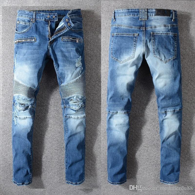 Compre 2019 Jeans Rasgados Para Hombre Disenador De Moda Jeans Para Hombre Slim Moto Biker Pantalones De Mezclilla Para Hombre Hip Hop Hombres Jeans Pantalones Largos A 46 03 Del Meikaierdu88 Dhgate Com
