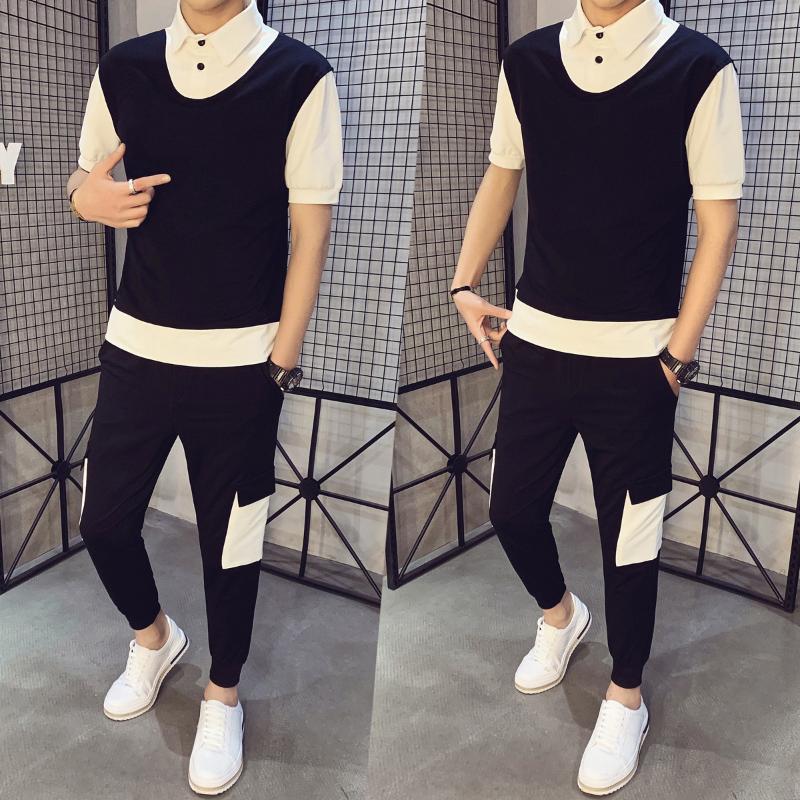 Men's Tracksuits Gzdeerax Sweat Suit Casual Short Sleeve Summer Pants Trousers Slim 2pcs Set Patchwork Hip Hop Sweatshirt+pant Male Track