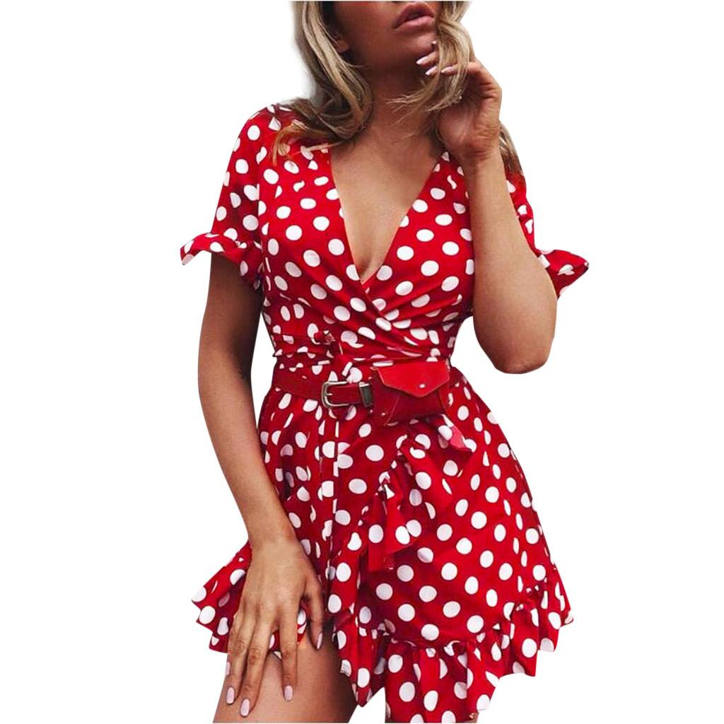 Sexy-Wellen-Punkt tiefer V-Ausschnitt Rüschen rotes Kleid Frauen Gabel Öffnungs kurze Hülsen-Belted Minikleid Sommer Strand kawaii sundress