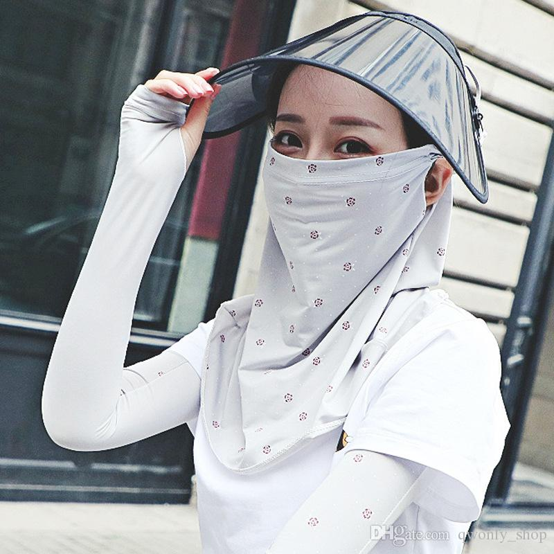 Women Cycling Face Mask Breathable Ice Silk Sunscreen Long Neck Full Face Mask UV Protection Summer Outdoor Sports mask Protective Sleeves