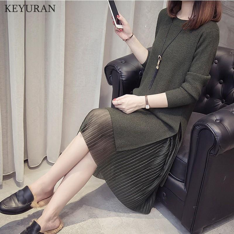 Talla grande 4XL 2019 otoño nuevo suéter de mujer Midi vestido conjuntos Casual elegante manga larga Split vestidos de punto falda plisada traje