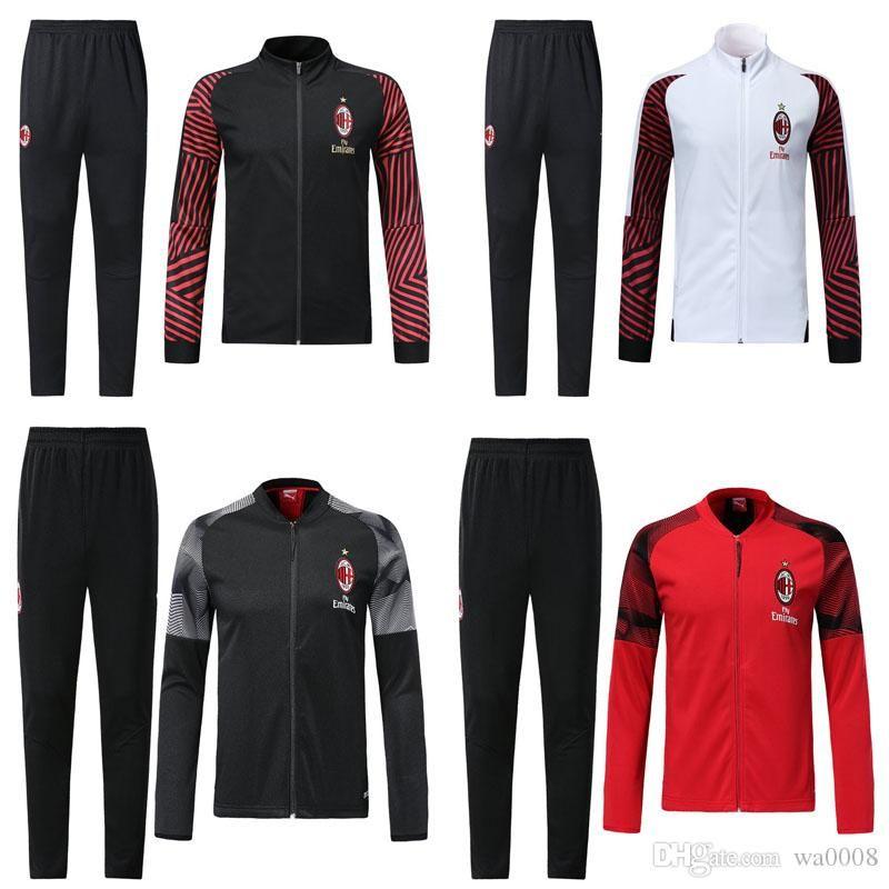 2018-2019AC Veste de survet Milan survetement set 18-19 CALHANOGLU Veste de football zippée survêtement de sport