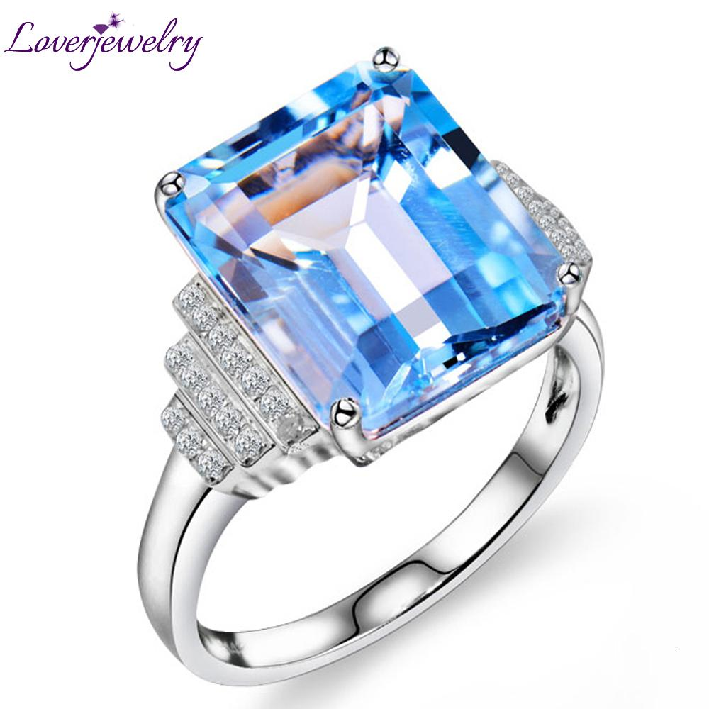 Loverjewelry modo di stile squilla per le donne Vintage smeraldo taglio diamante naturale pietra preziosa del Topaz Anello solido oro bianco 14K 10x12mm CJ191210