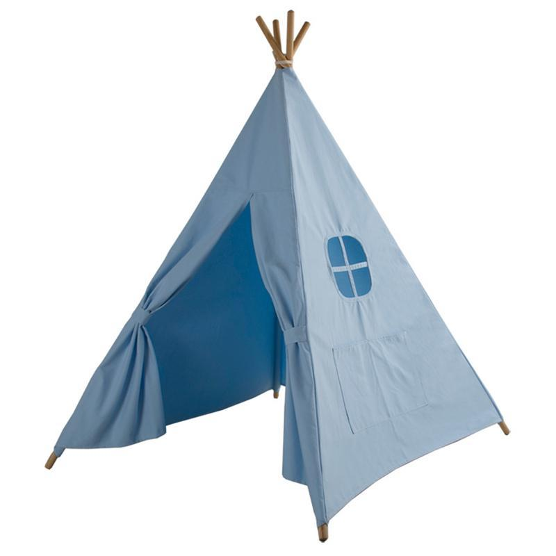 LM1317 Four Poles Children Teepees Kids Play Tent Cotton Canvas Teepee White Playhouse for Baby Room Tipi