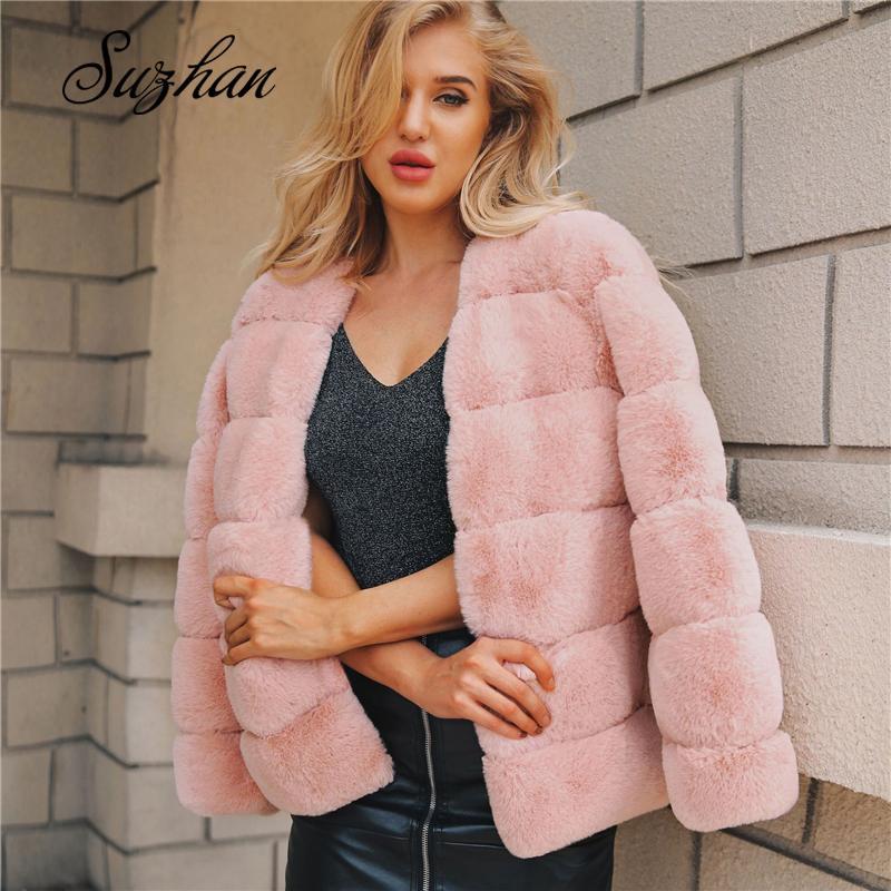 Suzhan abrigos capa de las mujeres 2019 de invierno Primeros rosa de la moda elegante de la piel de imitación gruesos calientes prendas de vestir exteriores de la chaqueta de la piel falsa Chaquetas Mujer
