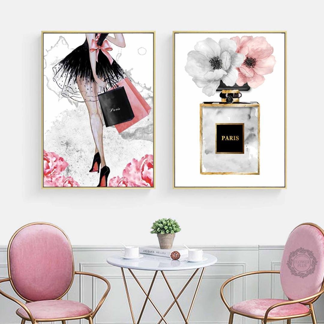 Fashion Girl Paris Perfume Flower High heels Nordic Posters And Prints Wall Art Canvas Painting Decoration Pictures Living Room