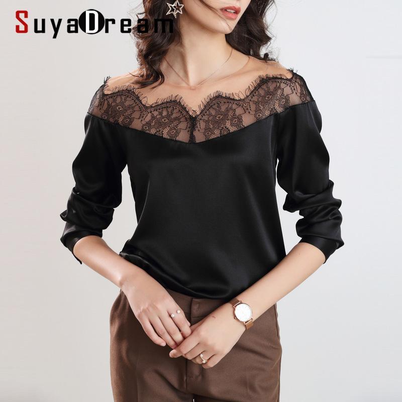 SuyaDream cordón de las mujeres empalmado Negro blusas 100% collar largo de seda con mangas de encaje OFICINA camisa de la blusa 2020 primavera elegante Top
