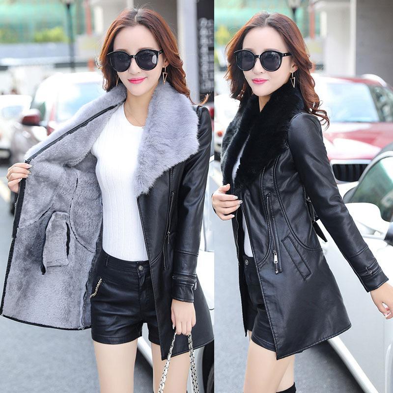 Yeni Koreli uzun PU deri İnce ceket büyük boy ince rüzgarlık jackect artı kadife tasarımcı ceket kaban womens
