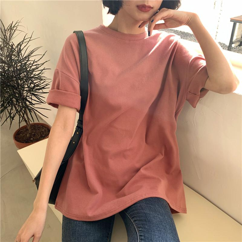 CBAFU 6 цветов женские футболки с коротким рукавом повседневная свободная нижняя твердые женские базовые топы Женская футболка лето новый P849