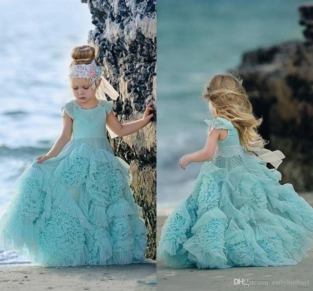 2019ミントグリーンフラワーガールドレス婚約者のための特別な機会フリルの子供たちの花床の花の床の長さレースパーティーの聖体拝領のドレス