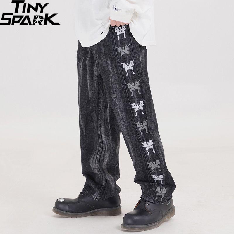 2020 Streetwear Pants Hip Hip Men Denim Pants bordado borboleta Black Denim Vintage Harajuku Corredores calças de algodão