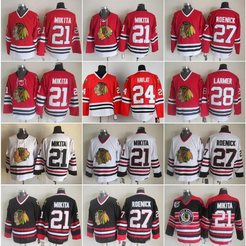 Chicago homens 21 Stan Mikita Home Jersey Hóquei Blackhawks Vintage CCM 27 Jeremy Roenick 24 Martin Havlat 28 Steve Larmer Casa Vermelho Branco Preto