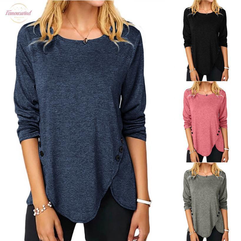 Moda Mürettebat Boyun Kadın Nedensel Katı Renk Gömlek Yuvarlak Yaka Düğme Dikiş Bluzlar Kış 2020 dropshipping Ücretsiz Kargo Moda W