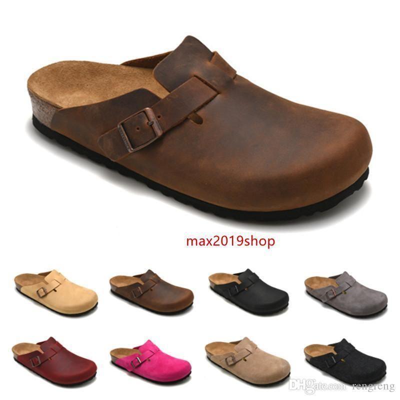 Boston Mayari Arizona Gizeh deri çanta kafa çekme mantar terlik kadın erkek yaz kaymaz terlik tembel ayakkabı severler plaj ayakkabıları scuffs