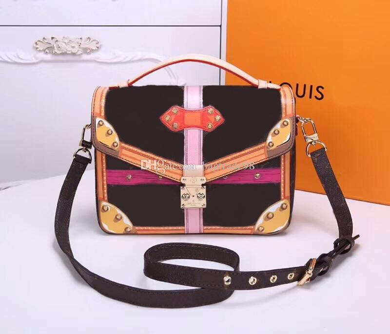 Famous Brand mulheres bolsa sacos de ombro Genuine noite sacos de couro # 43628 M40781 Carteira saco Tem poeira Cx # 269