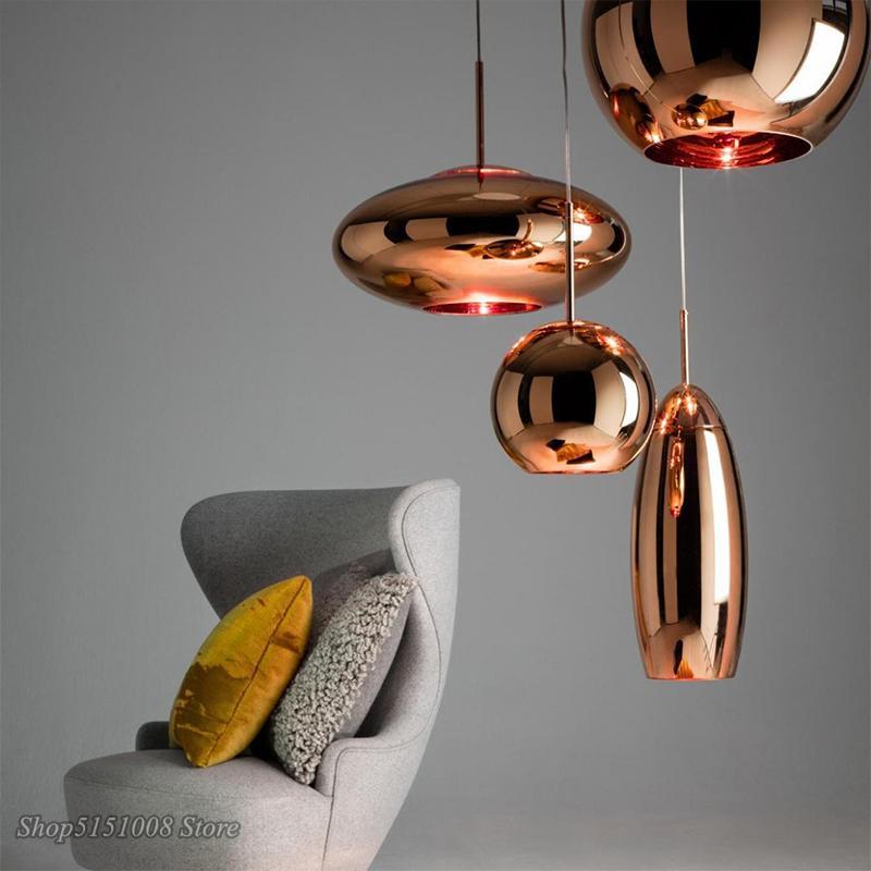 LED النحاس مصابيح قلادة الزجاج على نطاق واسع مرآة الأنوار قلادة الكرة للنوم غرفة المعيشة الصناعية مصباح ديكور المنزل مصباح
