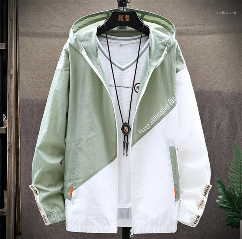 Lettre d'impression Vestes manches longues col capuche Manteaux Fermeture à glissière Contrast de poche couleur Designer Jacket Mens Fashion