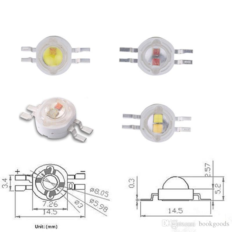 Freeshipping 50pcs / Pack 2 * 3W Giallo Bianco Led ad alta potenza chip con stella di 20mm PCB