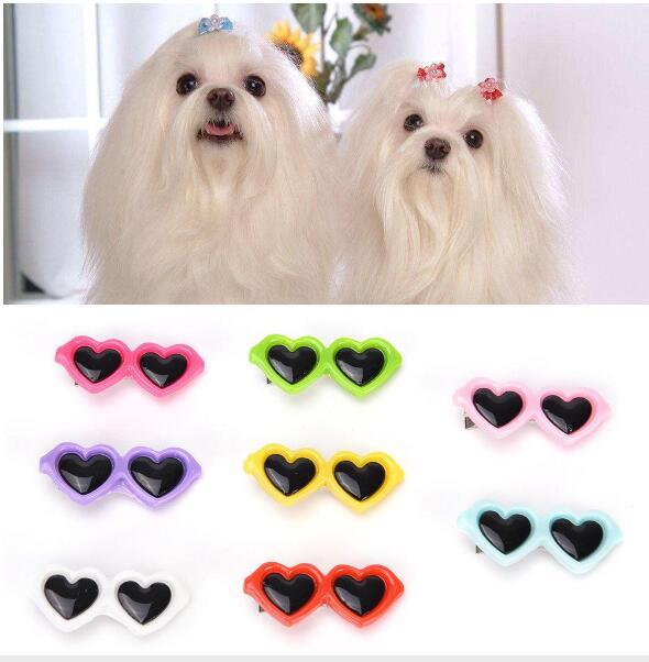 Pet Dog Hair Bows Clips Love Style Doggie Boutique Sunglasses Pet Grooming For Dogs Cats Hairs Groom wholesale