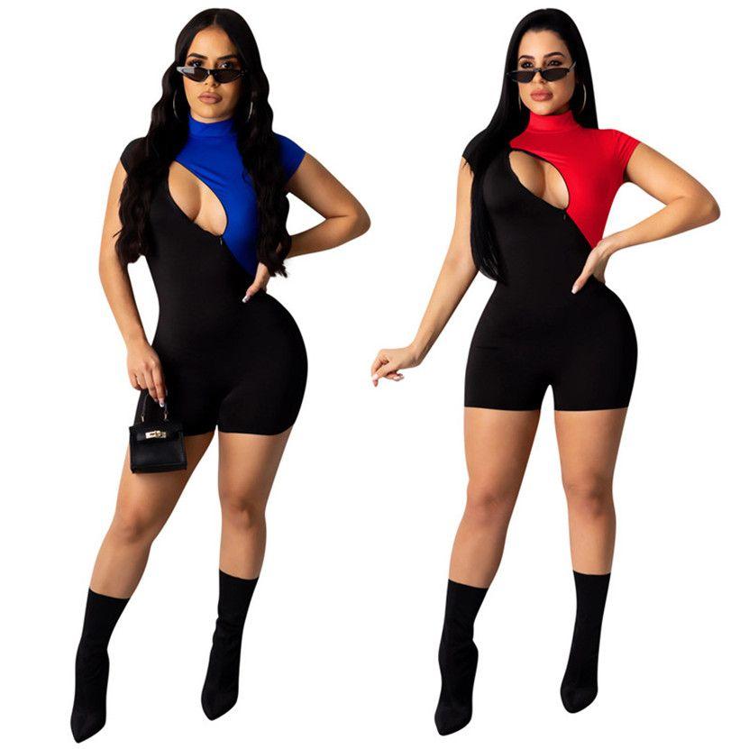 Estate più il formato 2XL donne alla moda sexy tute pagliaccetti del patchwork cerniera cortocircuito casuali camici di un pezzo pantaloni night club indossare 2605