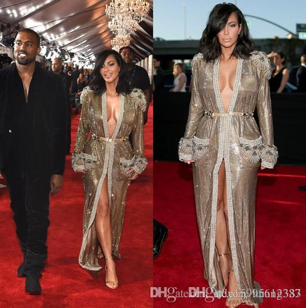 2019 New Grammy Kim Kardashian Shiny Gold Sequins Celebrity Red Carpet Dresses Long Sleeves Beads Front Slit Evening Dresses 115