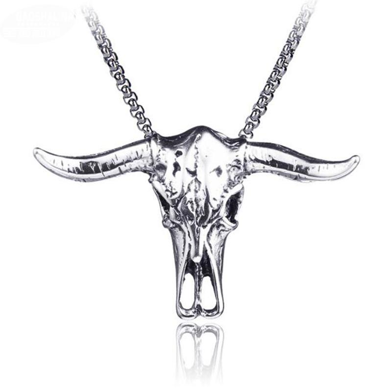 Hip Hop Men Titanium Steel Skull Witch Pentagram Necklace Punk Rock Mask Scissors Cross Pendant Necklaces Mens Gothic Collar Jewelry