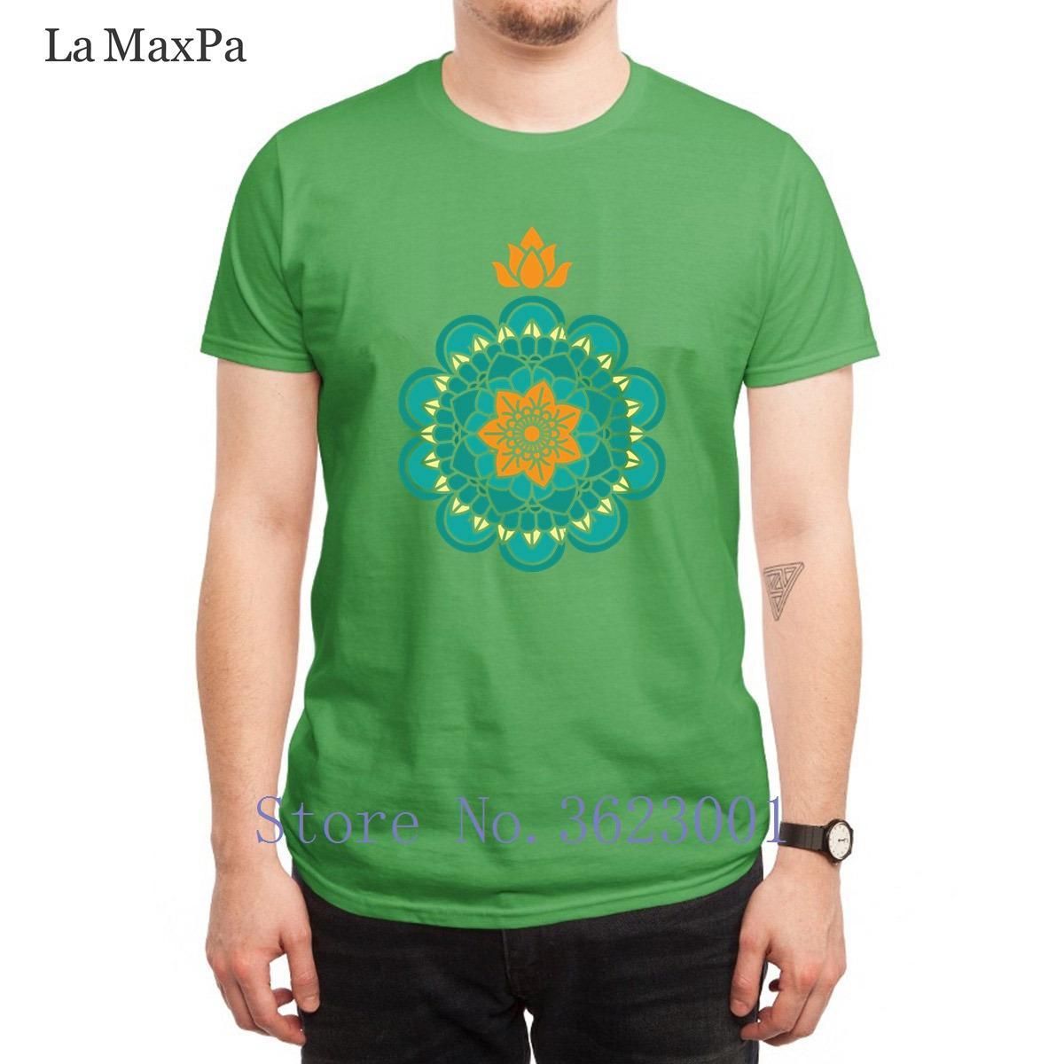 Tasarımcı Normal Tişörtlü Lotus Mandala Tişört Erkekler Esprili Unisex Erkek Nefes Pamuk Erkek Tee Gömlek Hip Hop için