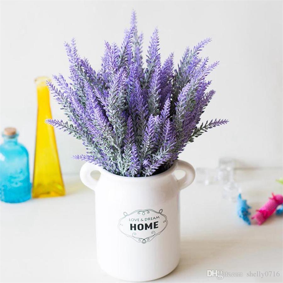 Romantic Artificial Flower Lavender Bouquet Green Leaves Decoration Creative Fake Flowers Artificial Flowers For Decor Hot Sale
