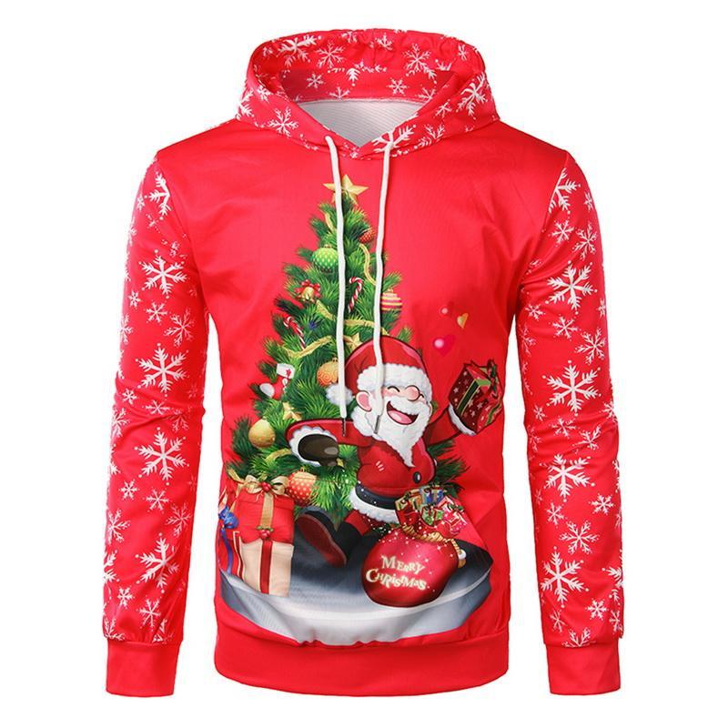 Patrón CALOFE Nueva impresión del Mens la camiseta de Santa Claus Navidad de la manera con capucha Tops del copo de nieve de Navidad Pullover Hombres Puente de vestuario