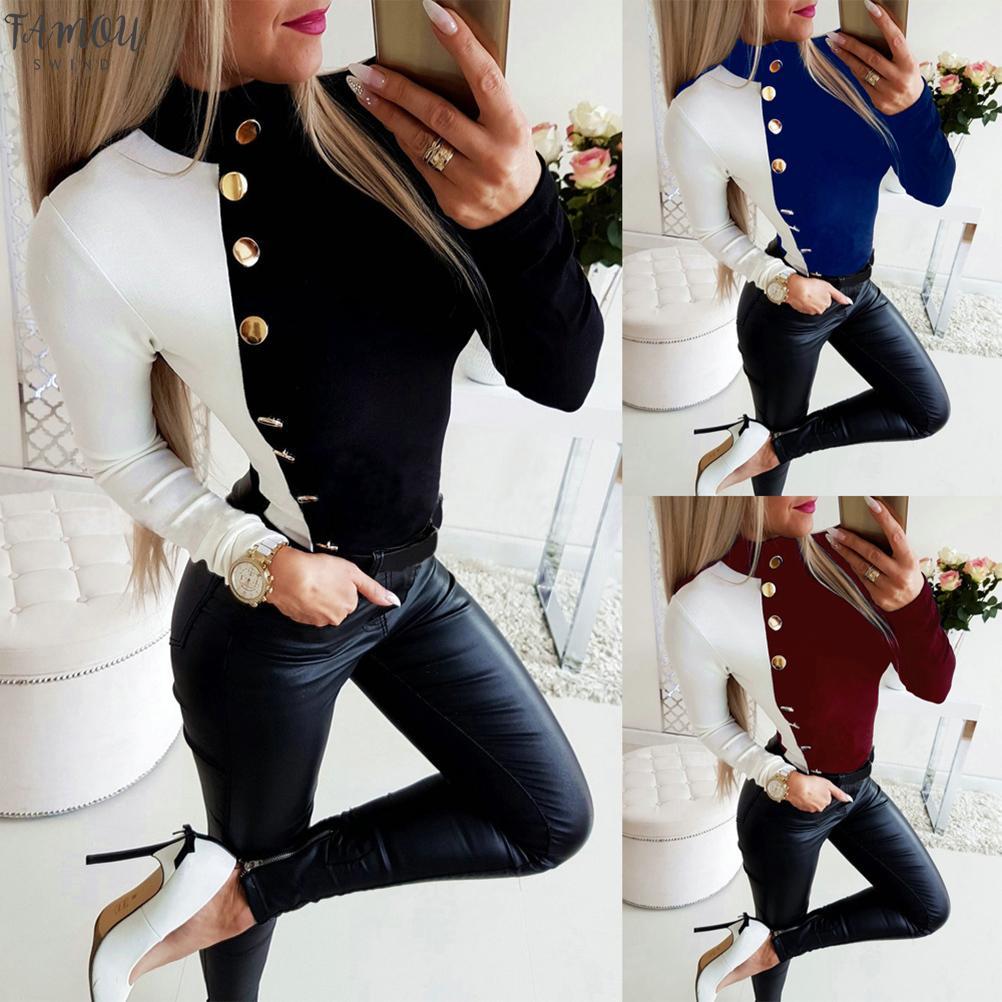 2020 Güz Uzun Kollu Seksi Tops Ve Düzenli Gömlek Casual Turtleneck Düğme Balck Beyaz Patchwork Skinny Uzun Kollu Bayan Bluz Tops