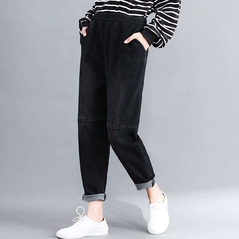 Frauen-Jeans-Denim-Hosen Bottom Hosen lang große lose gerade Maxi-Solid Black Retro Vintage Art und Weise beiläufige BO20171618