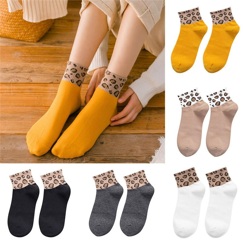 happy socks women Ladies Leopard Print Socks Fashion Women Ankle comfortable funny calcetines chaussettes femme W020