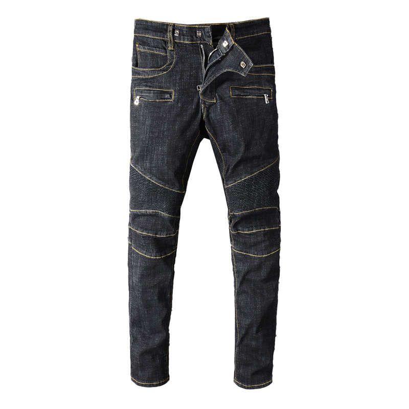 Fashion Streetwear Men Jeans Vintage Black Spliced Designer Motor Biker Jeans Homme Multi Pockets Cargo Pants Hip Hop Robin Jeans For Men