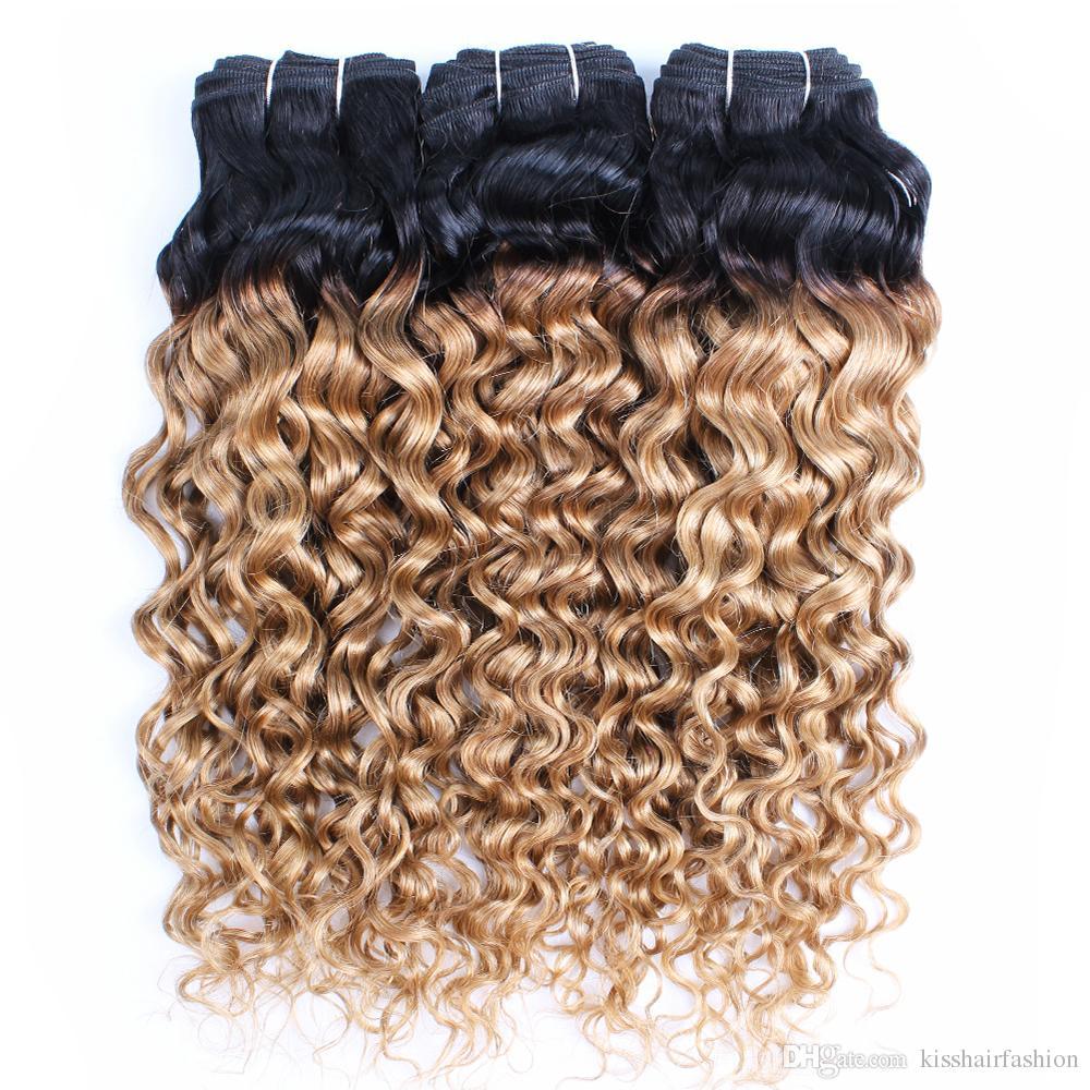 KISSHAIR T1B27 pelo de la onda de agua paquetes de miel rubia con raíces oscuras 3/4 paquetes ocupan virginal humana brasileña del pelo indio de Malasia peruana