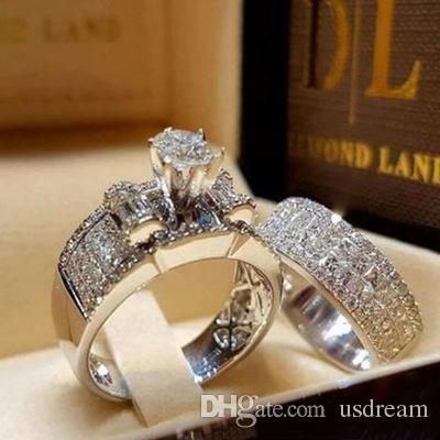 مزيج الماس خاتم الزواج مجموعات خطوبة خواتم مفككة الفرقة للنساء الأزياء والمجوهرات هدية 080441