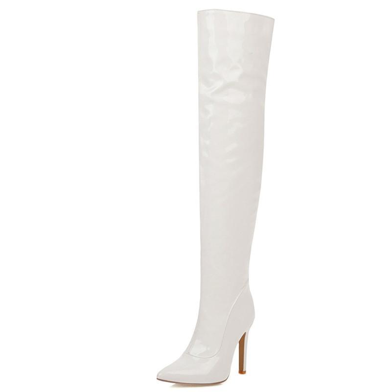 Hot Sale-Fedonas 2020 Herbst-Winter-warme lange Stiefel Sexy PU-Leder Hight Schuh-Frauen der neuen Frauen Overknee-Stiefel Big Size Reiten