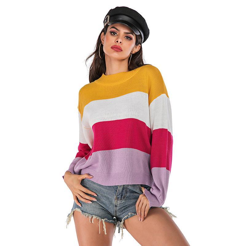 Regenbogen-Streifen Pullover Kontrast Strickpullover 2019 Langarm Strick Mode schlanke Frauen Pullover BM6157
