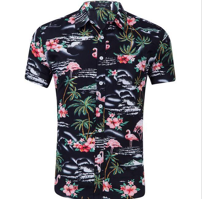 2019 3D streetwear short sleeve Floral pattern dress shirts Hawaiian beach style 3D Flamingo flowers printed men's casual shirts