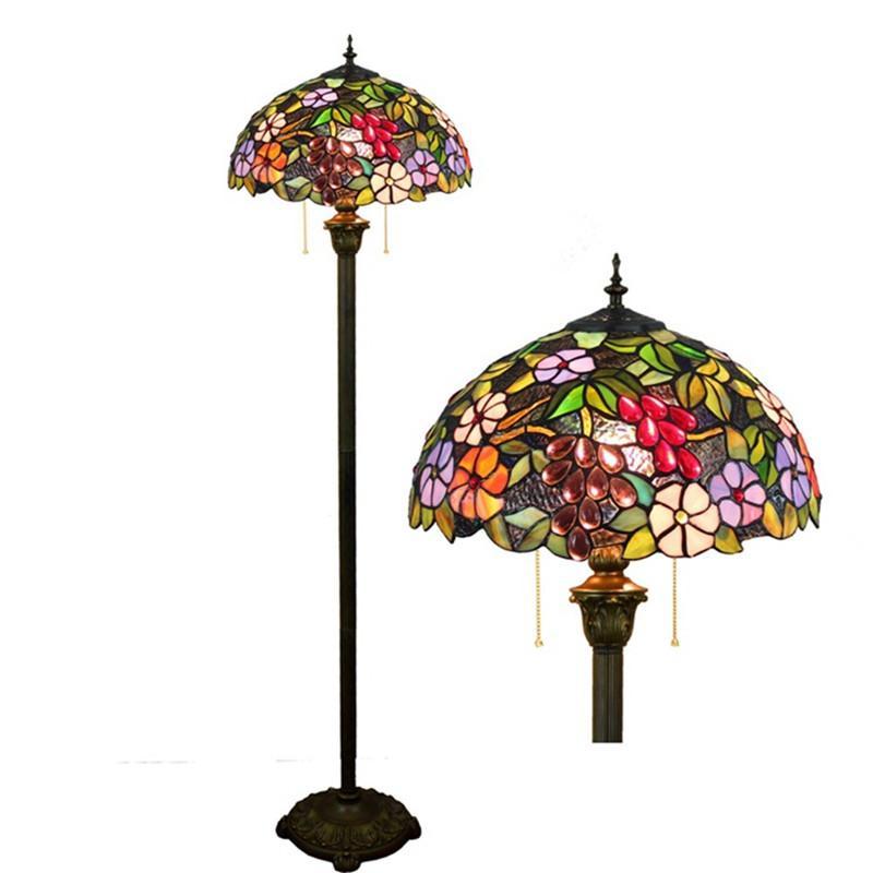 Americano antique vitrais lâmpadas sala de jantar quarto sala de arte de vidro luminárias decration uva Tiffany piso lâmpada TF037