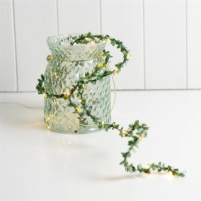 La stringa principale della lampada del filo di rame decora le lampade verdi del rattan della foglia Catene di illuminazione popolari Vendita calda creativa 7 5md J1